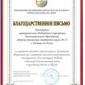 Благодарственное письмо от Управления по физической культуре и спорту г. Ростова-на-Дону